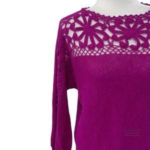 Mon Repose Handmade Lace Trim Magenta SweaterEUC